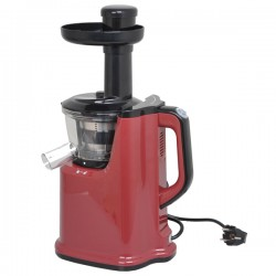 Storcator de fructe si legume MYRIA Slow Juicer MY4001, 150W, 65 rotatii pe minut, functie reverse, rosu-negru