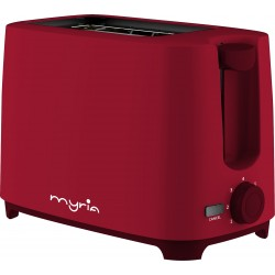 MYRIA MY4016RD Toaster, 2 slices, 700W, red