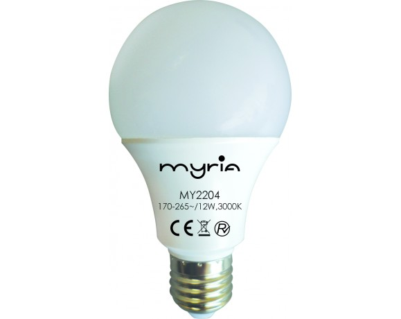 Bec LED MYRIA MY2204, 12W, E27, 3000K, alb cald
