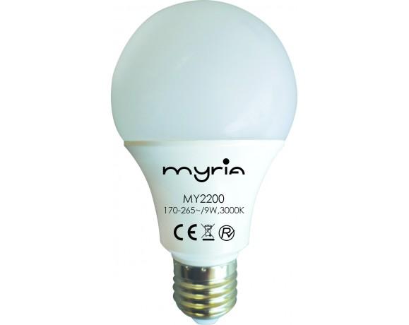 Bec LED MYRIA MY2200, 9W, E27, 3000K, alb cald