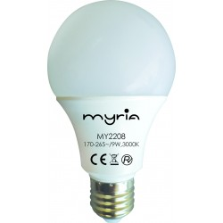 Bec LED MYRIA MY2208, 9W, E27, 3000K, alb cald