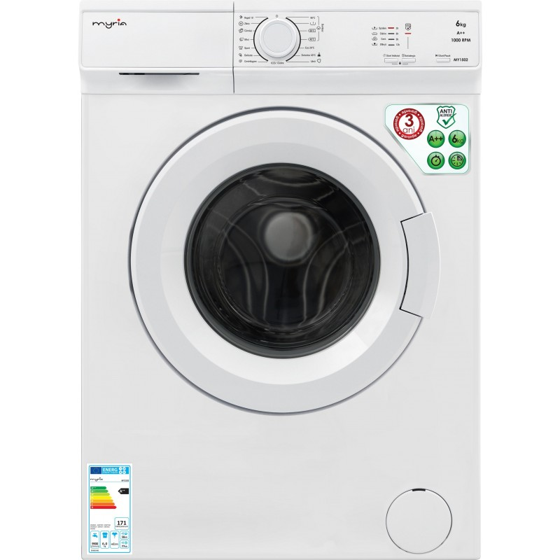 Myria My1502 High Efficiency Front Load Washer 6kg 1000rpm A White