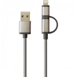 Cablu de date microUSB cu adaptor Lightning, MYRIA MY9009
